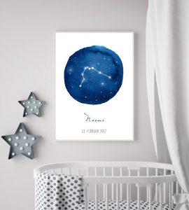 Sternzeichenposter für Geburt Geburtstag Baby
