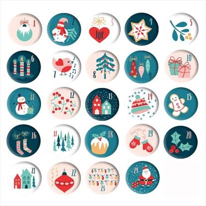 24 Adventskalender-Zahlen Buttons bunt